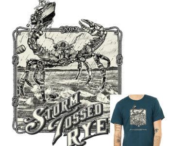 Storm Tossed Crab T-Shirt sample art